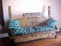 Driftwood bench from old canoe.